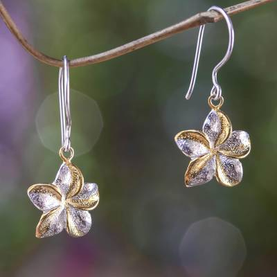 Gold accent flower earrings, 'Golden Frangipani' - Sterling Silver Earrings with Gold Accent