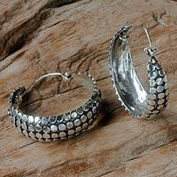 Sterling silver hoop earrings, 'Festive Harvest' - Artisan Crafted Sterling Silver Hoop Earrings