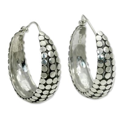 Sterling silver hoop earrings, 'Festive Harvest' - Artisan Crafted Sterling Silver Hoop Earrings