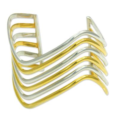 Gold accent cuff bracelet, 'Wakatobi Surf' - Sterling Silver Cuff Bracelet with Gold Accent