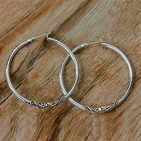 Gold accent hoop earrings, 'Celuk's Kencana' - Sterling Silver Hoop Earrings with Gold Accents