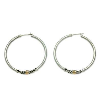 Gold accent hoop earrings, 'Celuk's Kencana' - Sterling Silver Hoop Earrings with Golden Accents