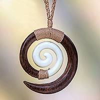 Wood pendant necklace, 'Hypnotic Borneo'
