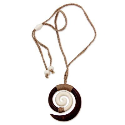 Artisan Crafted Bone and Wood Spiral Pendant Necklace from Bali