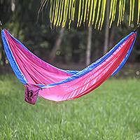 Hang Ten parachute hammock, 'Party for HANG TEN' (double) - Pink and Blue Double Parachute Hammock with Hanging Hooks