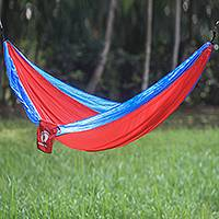 Hang Ten parachute hammock, 'Comet for HANG TEN' (double) - Fiery Red Double Size Parachute Hammock with Hanging Hooks