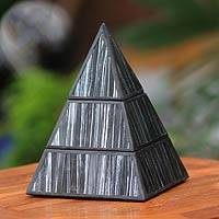 Reverse painted glass box, 'Pyramid Treasure' - Black and Silver Pyramid Box