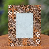 Cotton batik photo frame, 'Ceplok Worawari' - Brown White and Black Handcrafted Cotton Batik Photo Frame