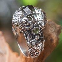 Prasiolite cocktail ring, 'Sealife'
