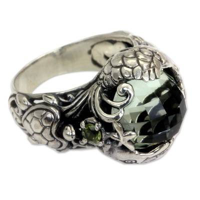 Balinese Sterling Silver and Prasiolite Cocktail Ring