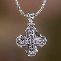 Sterling silver cross necklace, 'Glorious Faith' - Handcrafted Balinese Sterling Silver Cross Pendant Necklace