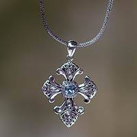 Blue topaz cross necklace, 'Beauty' - Handmade Balinese Blue Topaz Cross Necklace