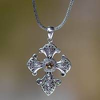 Citrine cross necklace, 'Beauty'