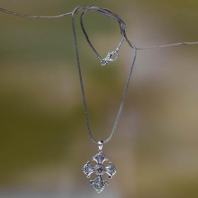 Citrine cross necklace, 'Beauty' - Handmade Balinese Citrine Cross Necklace