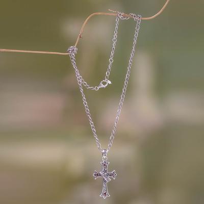 Garnet cross necklace, 'Cross and Crown' - Handmade Garnet Cross Necklace
