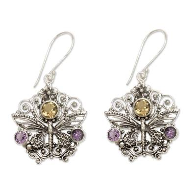 Amethyst and citrine earrings, 'Butterfly Queen' - Amethyst and Citrine Butterfly Earrings