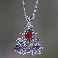 Carnelian and amethyst pendant necklace, 'Lady Butterfly'