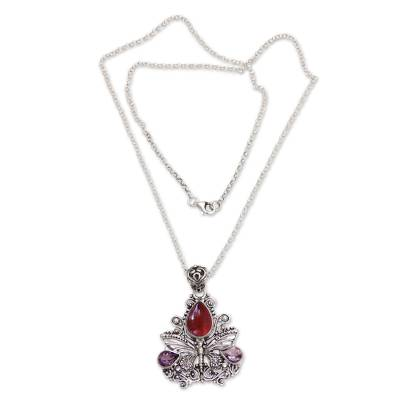 Carnelian and amethyst pendant necklace, 'Lady Butterfly' - Carnelian and Amethyst Butterfly Necklace