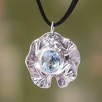 Blue topaz pendant necklace, 'Frog Prince'