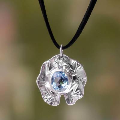Blue topaz pendant necklace, 'Frog Prince' - Artisan Crafted Blue Topaz Frog Necklace