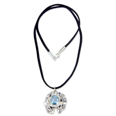 Blue topaz pendant necklace, 'Frog Prince' - Artisan Crafted Blue Topaz Frog Necklace