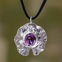 Amethyst pendant necklace, 'Frog Prince' - Amethyst and Sterling Silver Animal Themed Pendant Necklace