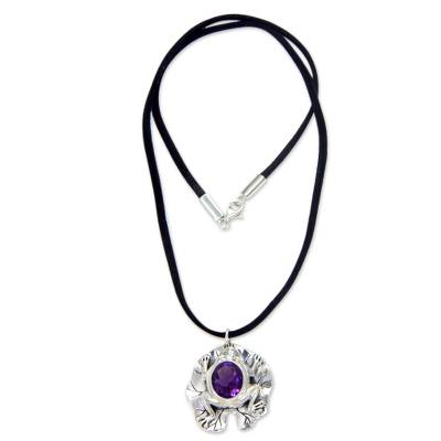 Amethyst pendant necklace, 'Frog Prince' - Artisan Crafted Amethyst Frog Necklace