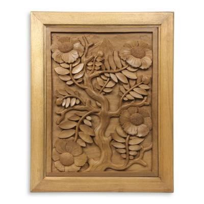 Wood wall panel, 'Nagasari Tree' - Hand-carved Low Relief Wood Wall Panel