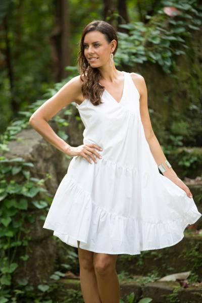 Cotton sundress, 'Balinese Cloud' - White Cotton Knee Length Sundress from Bali