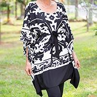 Hand painted caftan, 'Tribal Bouquet' - Hand Painted Black and White Caftan with Belt