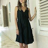 Cotton sundress, 'Balinese Night' - Balinese Black Cotton Knee Length Sundress