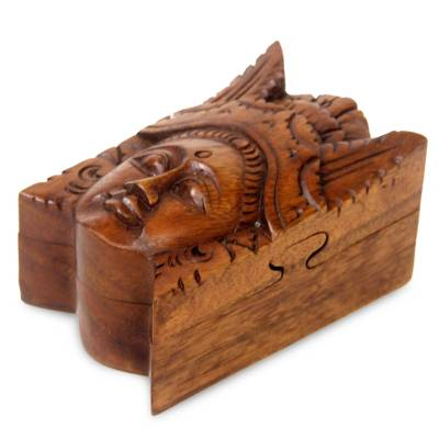 Wood puzzle box, 'Balinese Legong Dancer' - Balinese Puzzle Box
