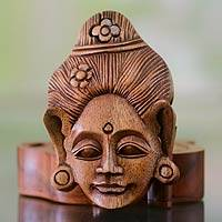 Wood puzzle box, 'Lady of Bali' - Hand Carved Balinese Portrait Puzzle Box