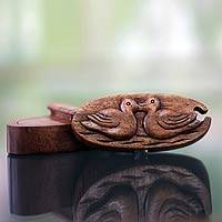 Wood puzzle box, 'Duckling Romance' - Duck Theme Wood Puzzle Box