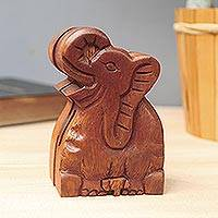 Wood puzzle box, 'Elephant Secret'