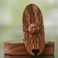 Wood puzzle box, 'Balinese Sun' - Sunshine Theme Wood Puzzle Box