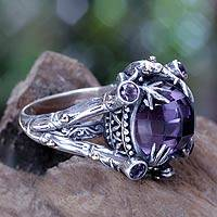 Gold accent amethyst cocktail ring, 'Tropical Frogs' - Amethyst Sterling Silver Ring with Gold Accents
