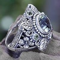 Prasiolite and peridot flower ring, 'Nature's Splendor'