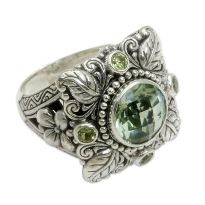 Sterling Silver Prasiolite and Peridot Cocktail Ring