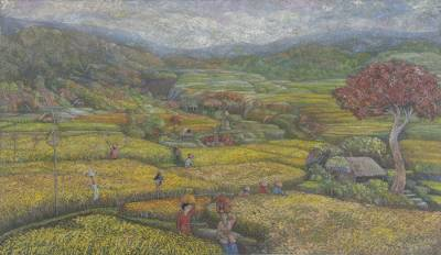 'Rice Harvesting' (2008) - Signed Balinese Landscape Painting