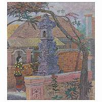'Guardian House' (2008) - Signed Balinese Painting Fine Art