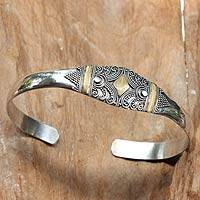 Gold accent cuff bracelet, 'Pride of Denpasar' - Gold Accent Balinese Bracelet