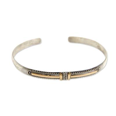 Gold accent cuff bracelet, 'Art Deco' - Modern Gold Accent Cuff Bracelet