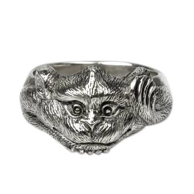 Sterling silver domed ring, 'Little Monkey' - Handcrafted Balinese Sterling Silver Monkey Ring