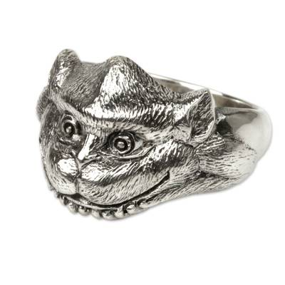 Monkey Theme Hand Crafted Sterling Silver Ring from Bali