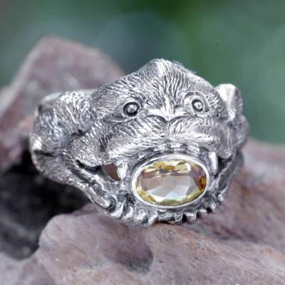 Citrine cocktail ring, 'Monkey Glam' - Silver and Citrine Monkey Theme Ring
