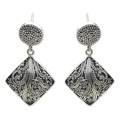 Sterling silver dangle earrings, 'Island Rain' - Silver Granule Earrings