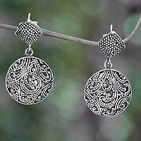 Sterling silver dangle earrings, 'Tropical Rain' - Sterling Granule Earrings