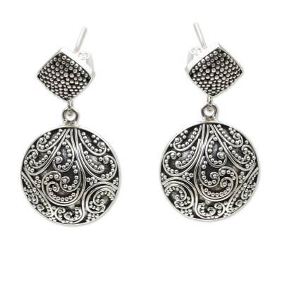 Sterling silver dangle earrings, 'Tropical Rain' - Sterling Granule Earrings