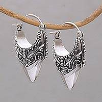 Sterling silver hoop earrings, 'Bali Origin'